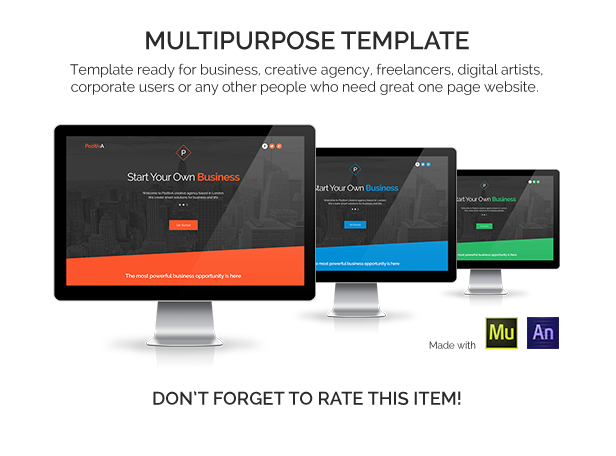 PozitivA - Multipurpose One Page Muse Template - 1