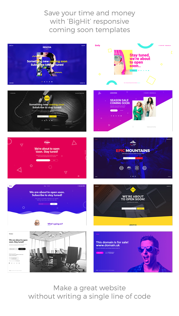 BigHit - 11 in 1 Coming Soon Responsive Muse Templates - 1