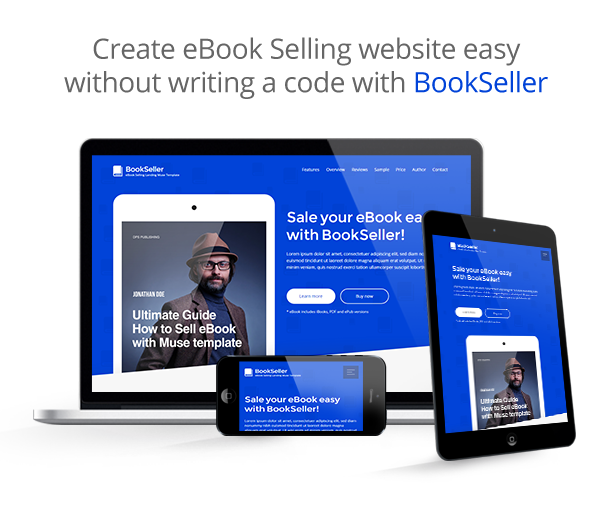 BookSeller - eBook Selling Responsive Muse Template - 1