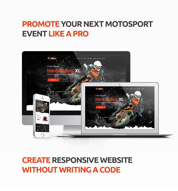 Enduro - Extreme Motorcycle Race Event Website Muse Template - 1