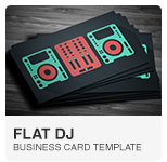 Flat Digital DJ Business Card PSD template