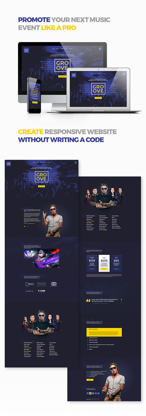 Groove - Music Event / Party / Festival Responsive Muse Template - 1