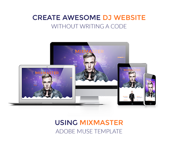 Mixmaster dj producer website muse template themeforest for Adobe muse mobile templates