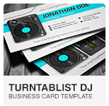 Turntablist DJ Business Card PSD template